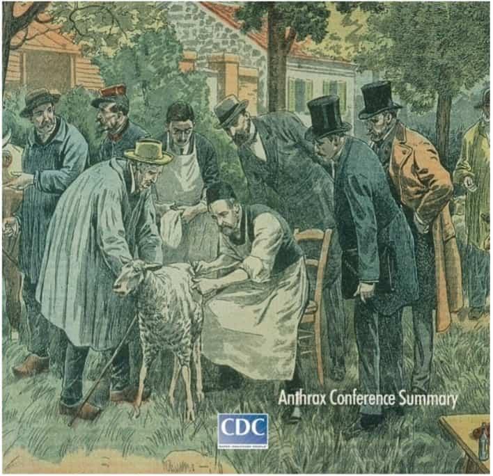 """Figura 3. Experimentación con el virus del carbunco bacteridiano: """"Le Pelerin"""", 1922. Homenaje a Louis Pasteur. Dibujo de Damblans."""